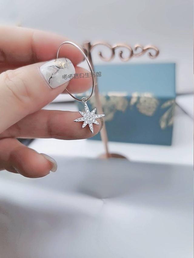 《APM風格同款》韓劇明星唯美款鋯石八芒星鑲鑽鋯石銀圈(二戴式)耳環