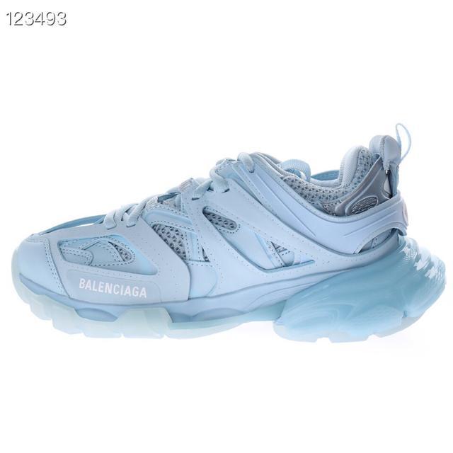 高奢品牌-巴黎世家3.0代復古野跑姥爹潮流百搭慢跑鞋「淡藍白」
