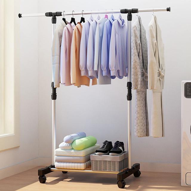 單杠簡易晾衣架 落地單杆式 曬衣架 升降折疊 室內外 衣服架子