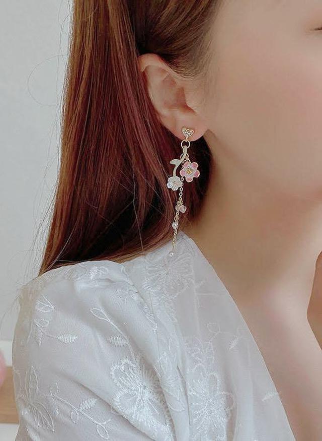 🌟現貨🌟正韓日系和風不對稱櫻花樹枝耳環