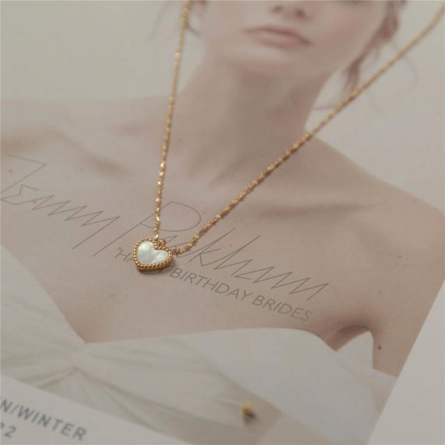 S925純銀小清新白貝母桃心項鍊百搭可調節鎖骨鏈毛衣鏈法式女