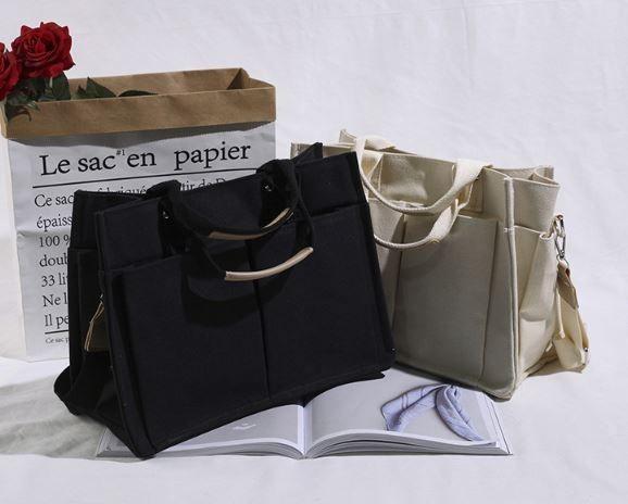 韓版東大門同款Ins 多口袋大容量帆布側背包
