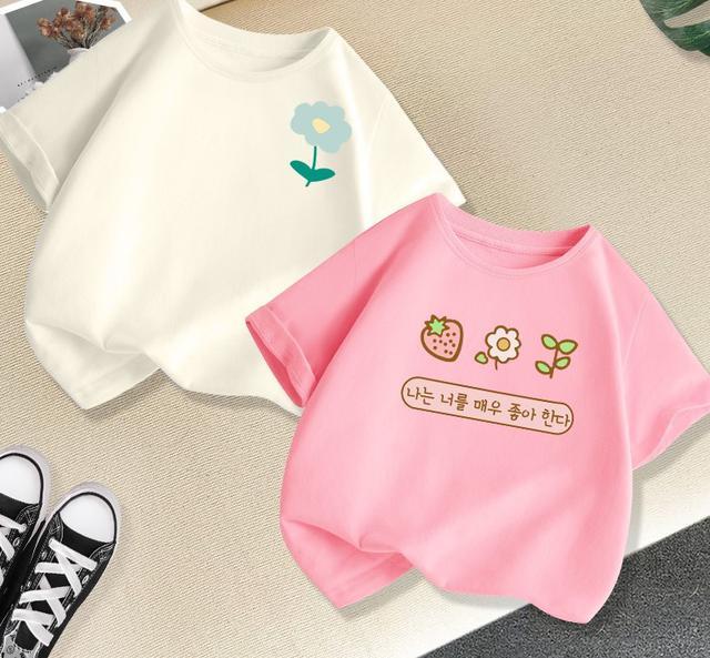 預購/女孩半袖上衣童裝兒童夏季纯棉衣服