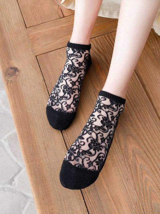 宮廷雕花透膚襪5双