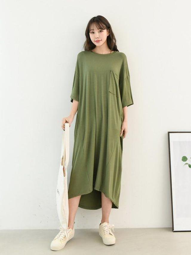 正韓-簡單素色休閒連身裙