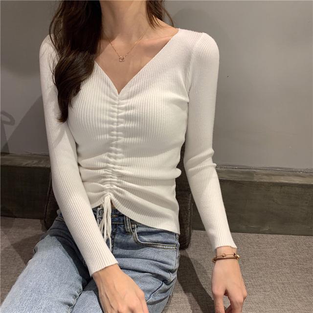 抽繩V領修身顯瘦長袖針織毛衣上衣女裝/2019秋季新款