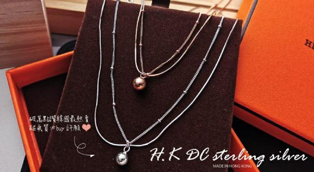 韓星層次感完美時尚銀珠雙鍊唯美項鍊(4.6G)