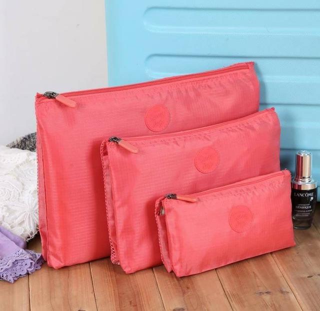 韓國品牌航空單拉鍊三層手拿收納旅行整理袋三件套