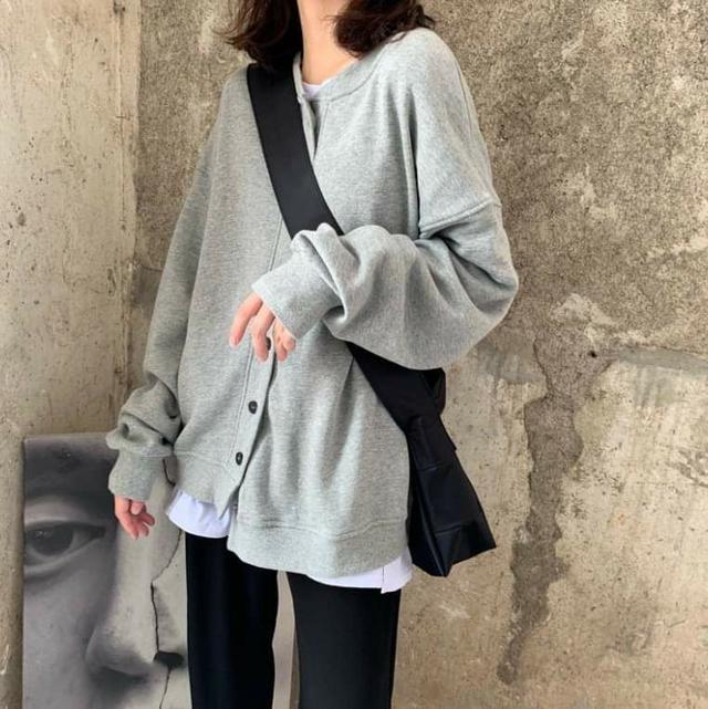 寬鬆顯瘦純色棉質排扣薄外套 ( M~2XL )
