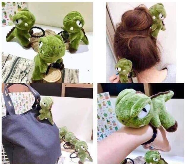 人氣爆單~恐龍玩偶綁髮髮飾~