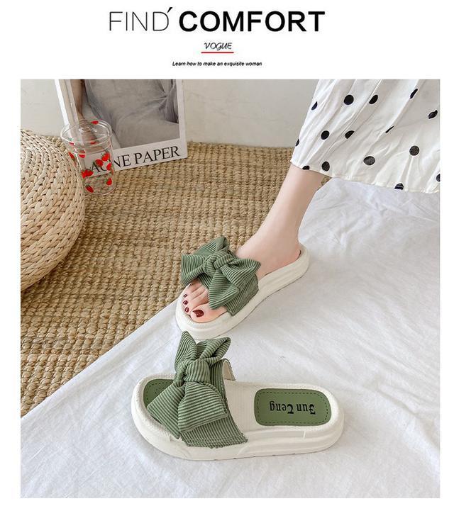 (預購)百搭同款運動ins潮蝴蝶结凉拖鞋女外穿時尚女士厚底鞋