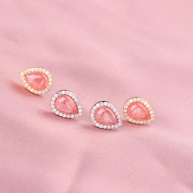 S925純銀草莓晶水滴形耳釘輕奢感微鑲鋯石耳環輕奢感耳飾氣質