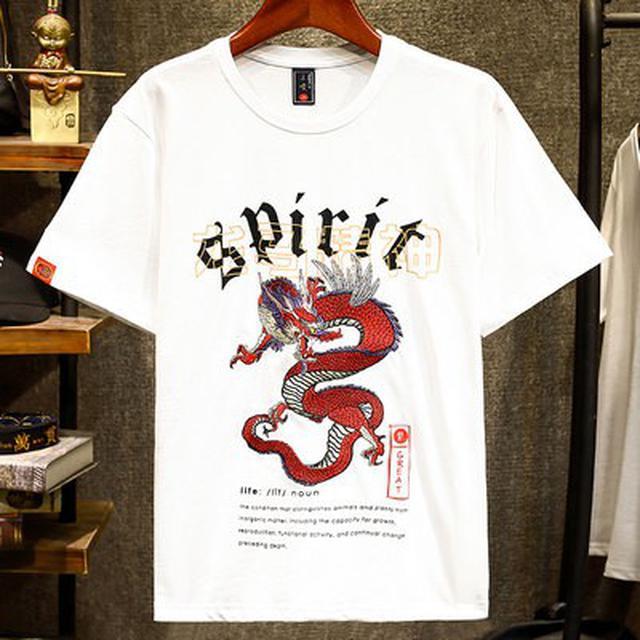 06 M-4XL 優質潮牌重工刺繡神龍短袖T恤(2色)