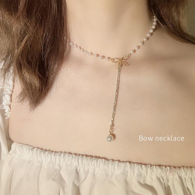 (預購)韓版珍珠蝴蝶結鎖骨鏈
