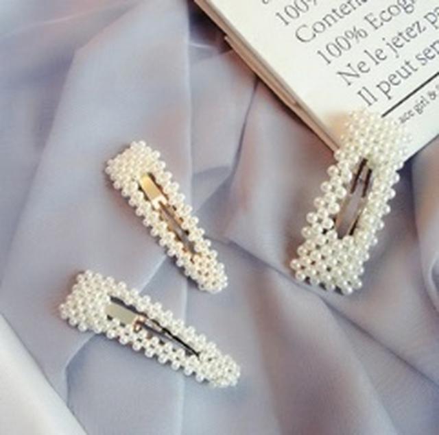 白珍珠髮飾夾