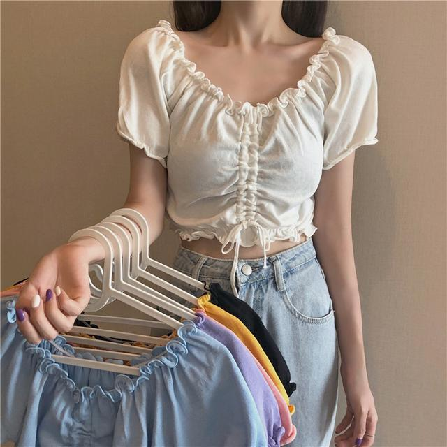 露臍短款恤女裝木耳邊抽繩褶皺一字領上衣