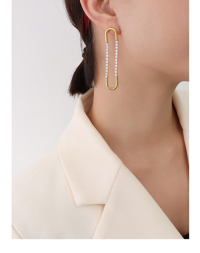 法式簡約氣質門字幾何U形誇張耳環鋯石耳扣鈦鋼鍍18k金冷淡風耳釘