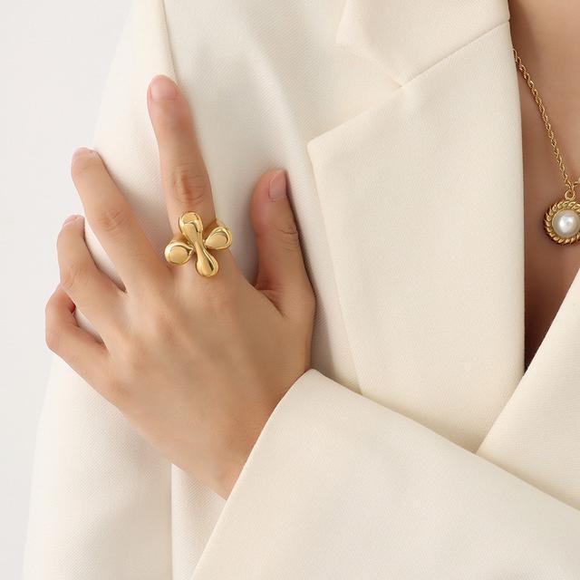 法式熱銷時尚復古做舊鑄造戒指 鈦鋼戒指鍍18K真金指戒尾戒