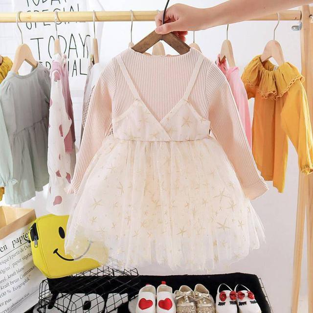 『秋冬-預購』波點/星星假兩件紗裙洋裝