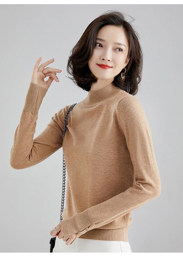 秋冬半高領短羊毛針織毛衣女素色長袖優雅內搭打底衫上衣