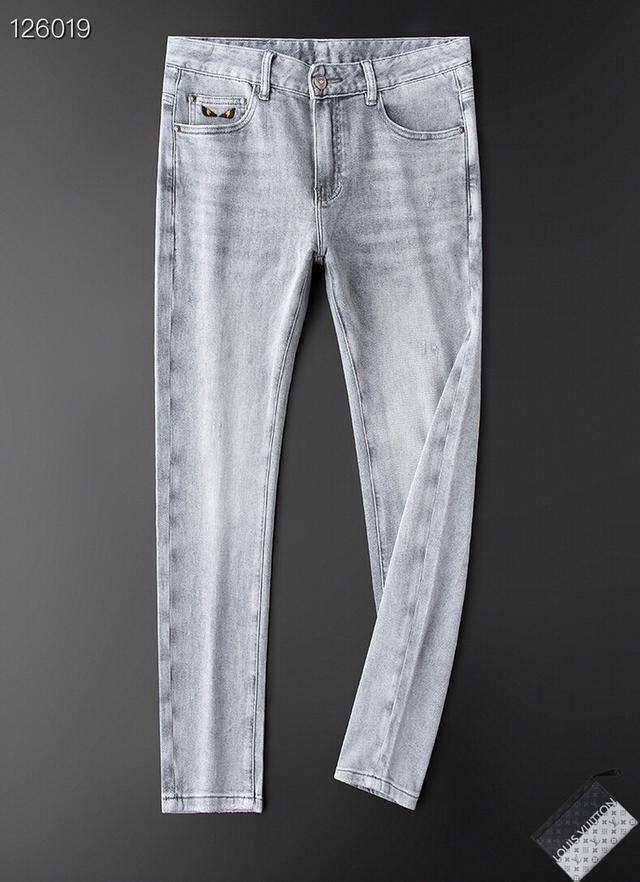 FENDI芬迪頂級原單修身小腳薄款牛仔褲