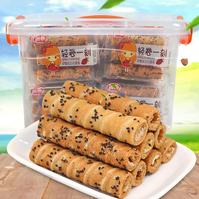 【收納盒】巧克力、草莓芝麻注心蛋捲90支 休閒零食辦公零食一箱90支