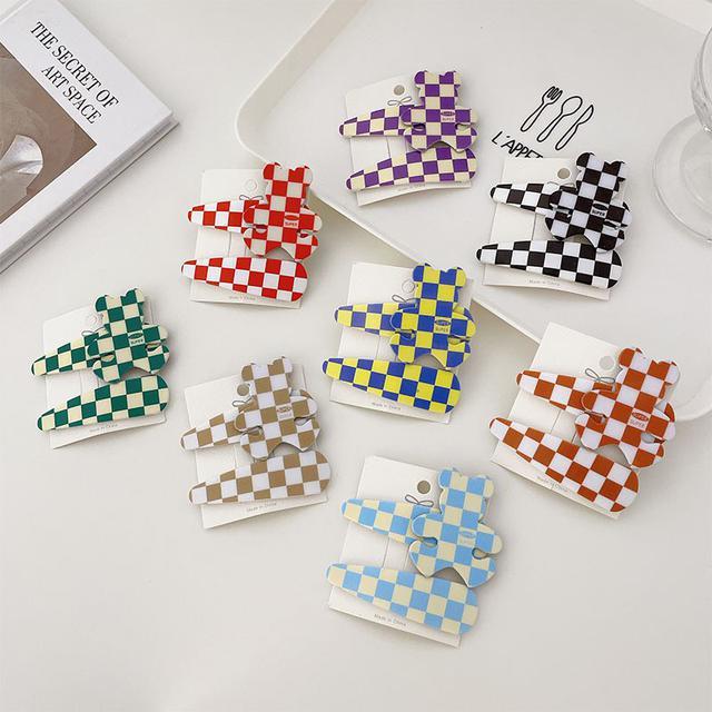 韓版IG髮卡兩個套裝格紋小熊水滴BB夾側邊夾碎髮劉海夾