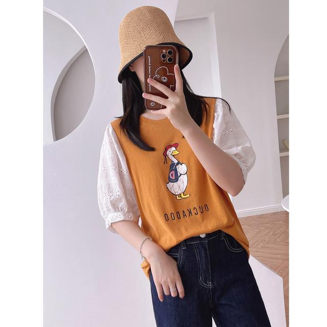 刺绣蕾絲拼接泡泡袖T恤(H)