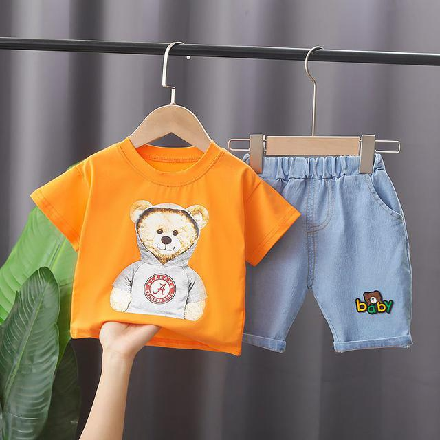 逗逗童裝男童夏季短袖兩件套新款帥氣寶寶卡通韓版兒童兩件套潮