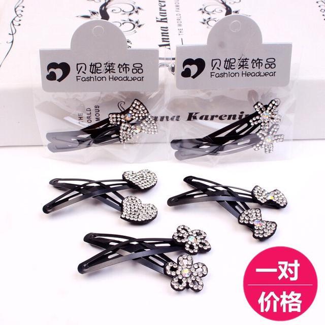 190826032韓版水晶發飾時尚花朵蝴蝶結鑲鑽發夾