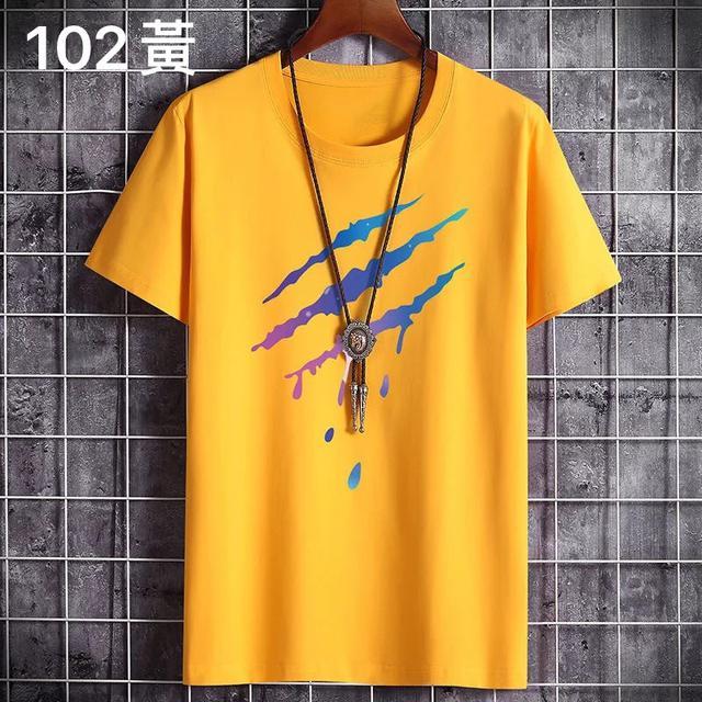 (102系列)100%純棉短袖T恤男士夏季2020新款韓版潮流寬松體恤衫上衣男衣服