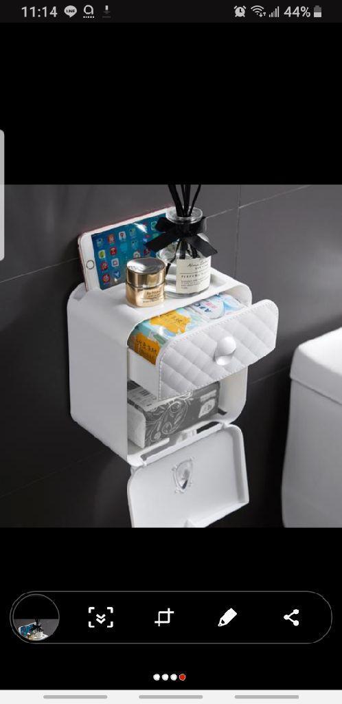 時尚壁掛式抽屜雙抽口防水紙巾盒(免釘免鑽孔)
