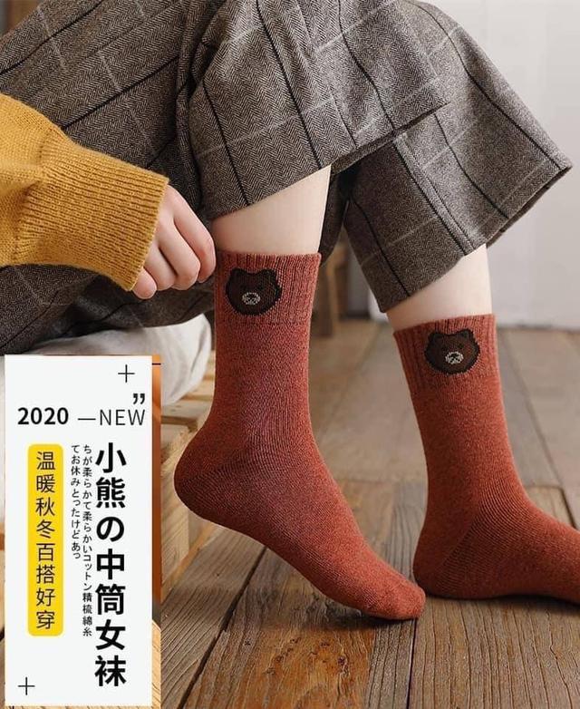 🐻日系小熊加厚毛圈中筒襪