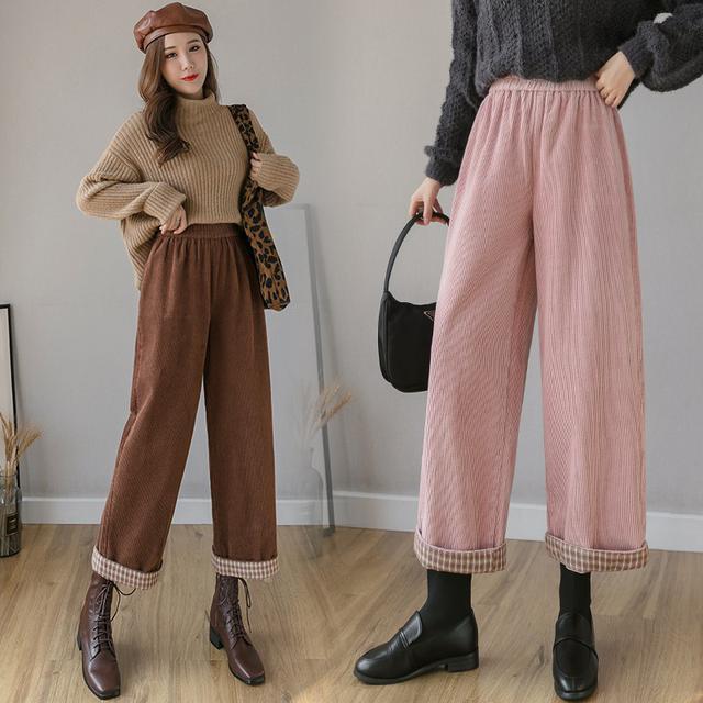 10月 S-XL 燈芯絨休閒褲女寬鬆闊腿褲港風復古 3色