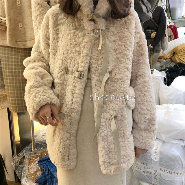 秋冬新款时尚加厚皮毛一体外套
