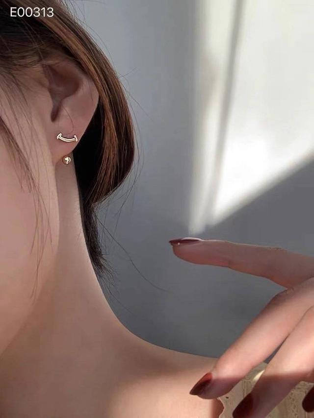 微笑螺絲銀珠後掛式耳環 #香港純銀老店耳環