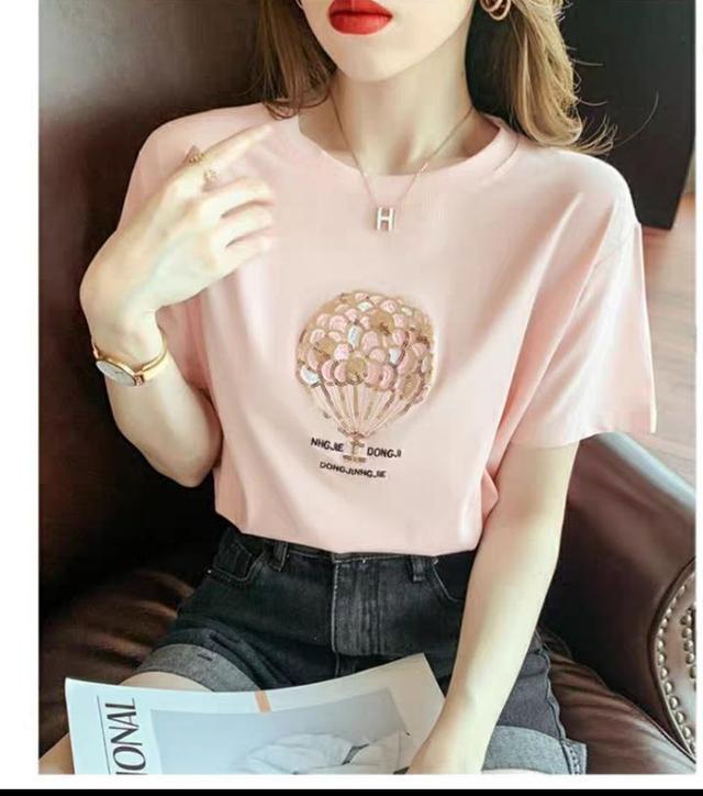 韓國寬鬆刺繡亮片上衣