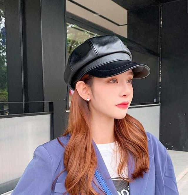 (預購S) H113 - 秋冬高質感復古皮革八角帽
