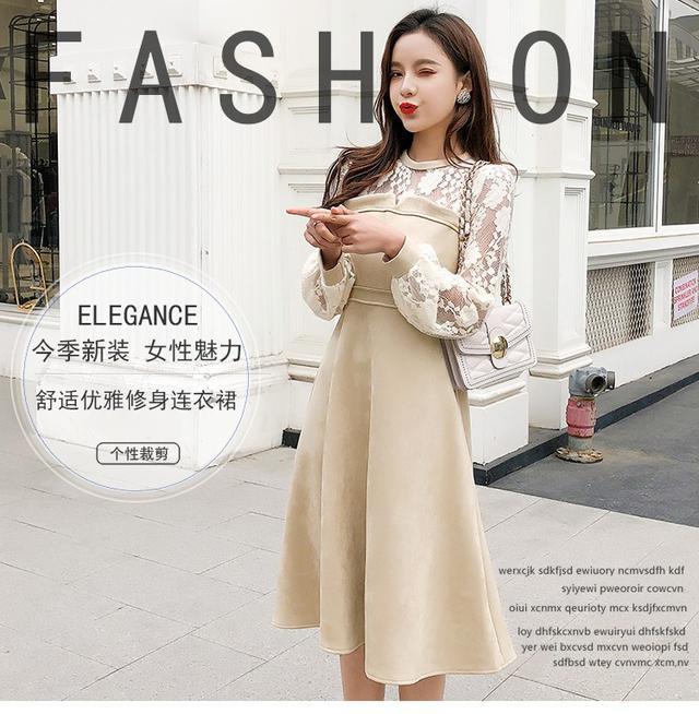11 S-XL 韓版 法式蕾絲鹿皮絨假兩件連衣裙