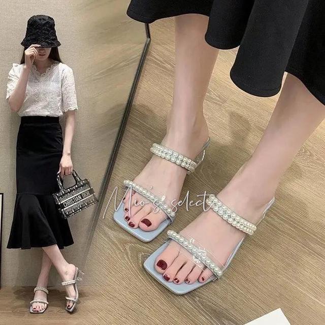 💋Mio's法式珍珠跟鞋➰氣質珍珠飾一字設計透明水晶跟中跟涼鞋法式跟鞋氣質女鞋
