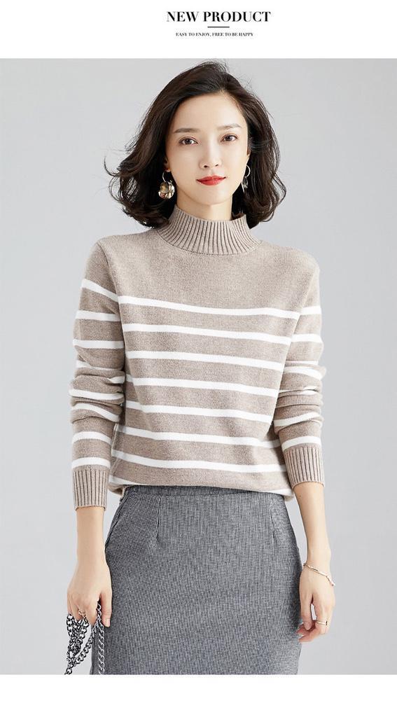 秋冬新款套頭鄰家女孩風條紋針織毛衣打底衫/百搭文藝女短款針織上衣女裝