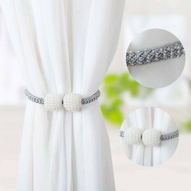 珍珠磁吸窗簾扣綁帶(2條)