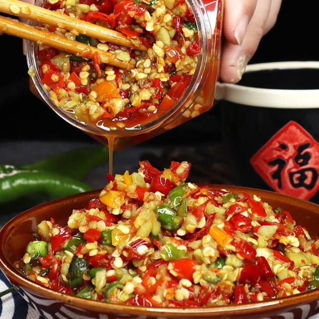 湖南四川特產農家自制辣椒醬下飯菜瓶裝蒜蓉青紅剁椒香辣拌飯醬280g/瓶
