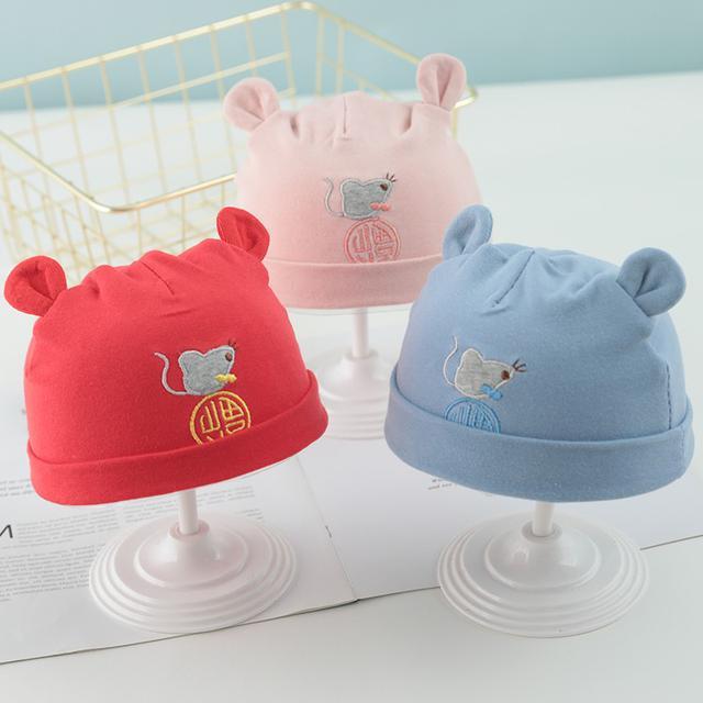 (預購)新生兒帽子夏天薄款初生胎帽透氣鼠年圖案