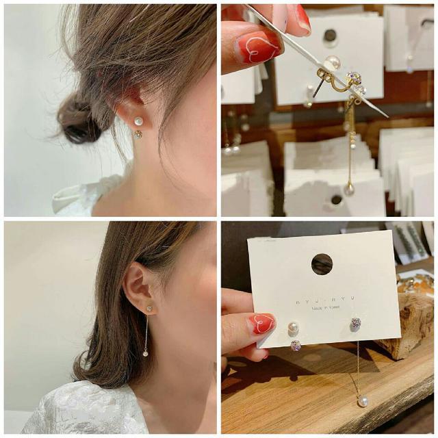 預購銀針不對稱珍珠耳環