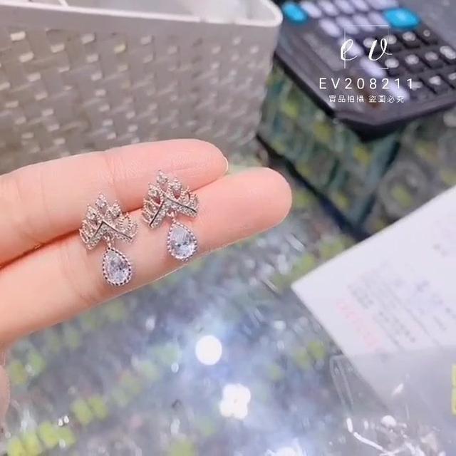 正生銀飾 皇冠耳環 EV208211