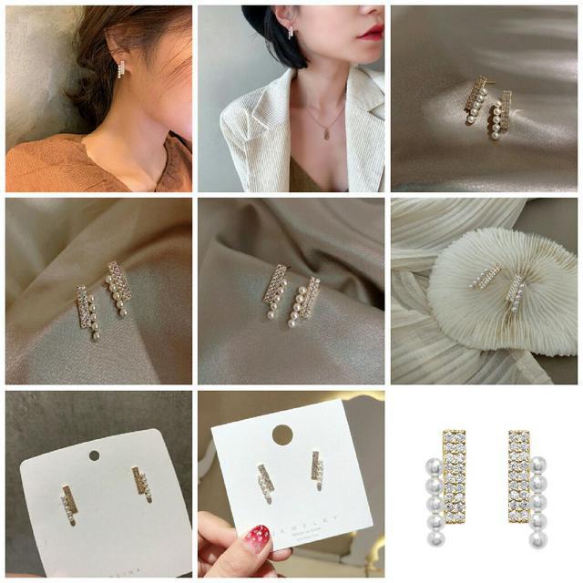 預購小巧精緻珍珠鑲鑽耳環