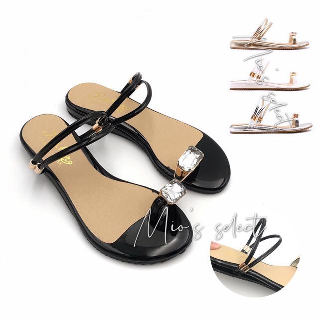 ❤️Mio's希臘女神熱賣款➰MIT製造寶石鑽設計漆皮材質夾腳兩穿式涼拖鞋女鞋