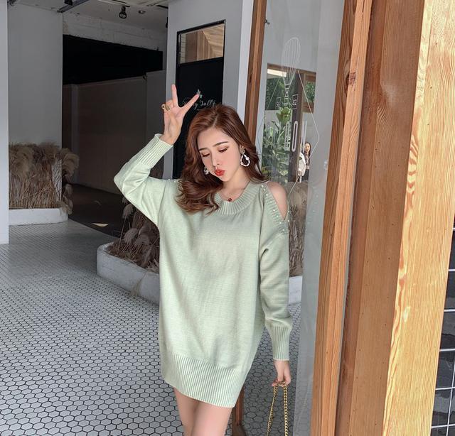 11 性感寬鬆露肩針織衫毛衣(4色)