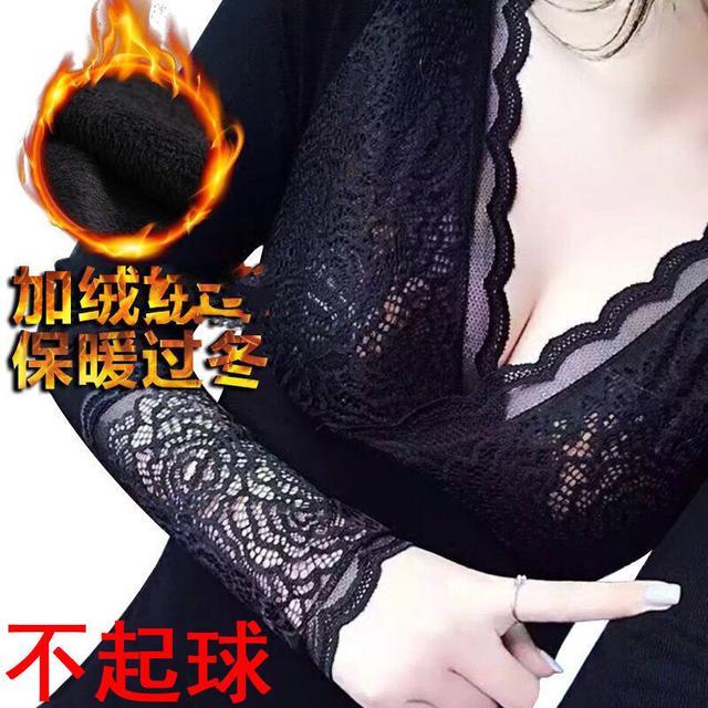 新款蕾絲V領加絨塑身美體女神保暖衣